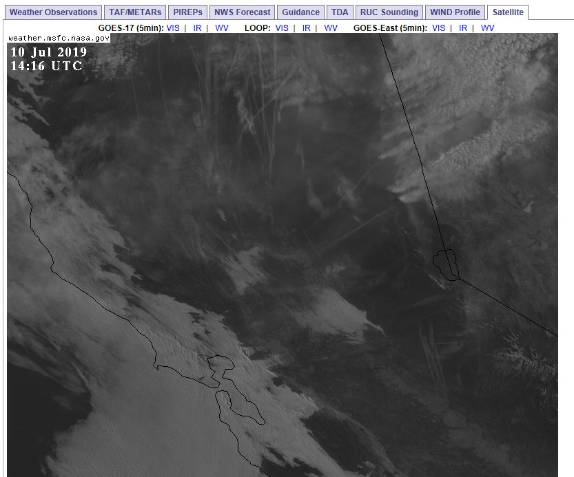 central CA satellite view of clouds